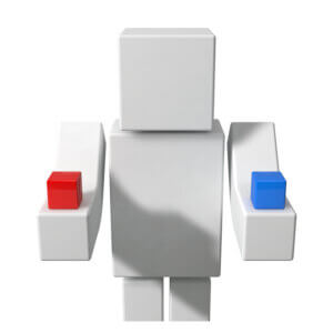Картинка крутая аватарка майнкрафт для ютуба с фигуркой человека из игрушечных прямоугольных блоков.