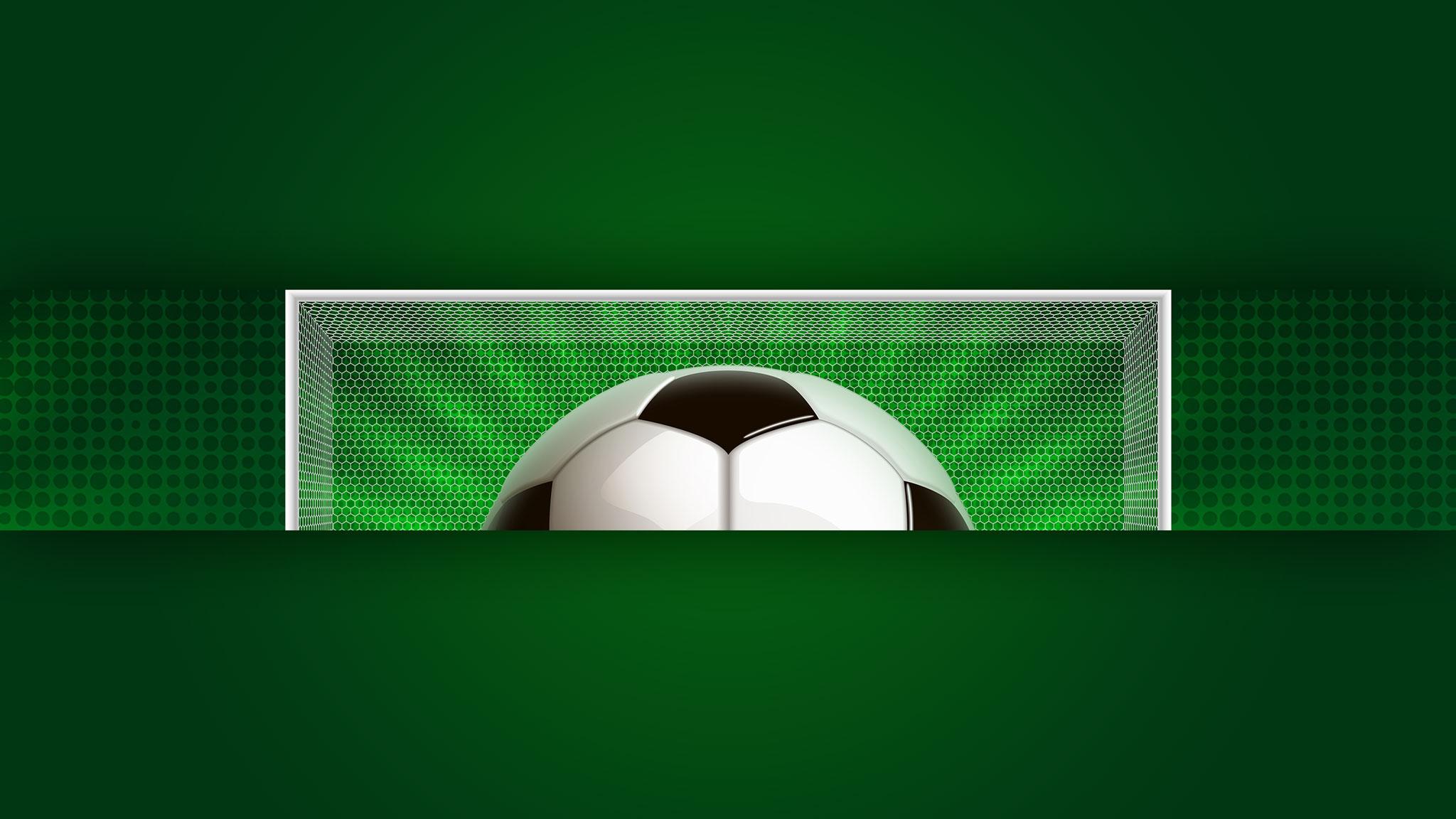 Картинка зелёный бэкграунд для ютуба 2048x1152 без текста с футбольным мячом на фоне вратарских ворот.