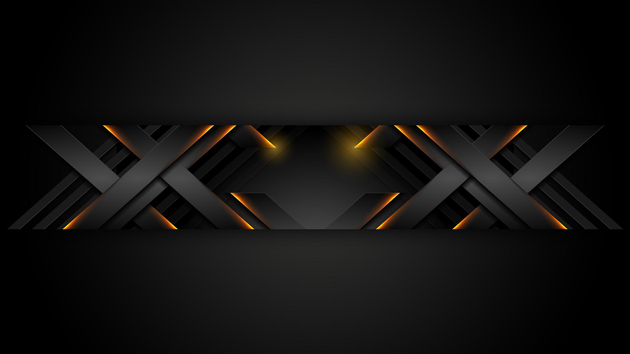 Картинка готовая шапка для ютуба без текста из симметричных линий на чёрном фоне.