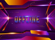 Картинка на оффлайн баннер для твича фиолетового цвета с эффектом светящейся неоновой вывески.