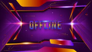 Картинка оффлайн баннер для твича фиолетового цвета с эффектом светящейся неоновой вывески.