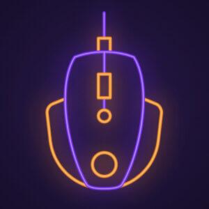 Картинка топ аватарка для ютуб канала мобильных игр с неоновой компьютерной мышью из фиолетовых и жёлтых светящихся линий на чёрном фоне.