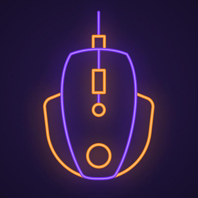 Неоновая компьютерная мышь.