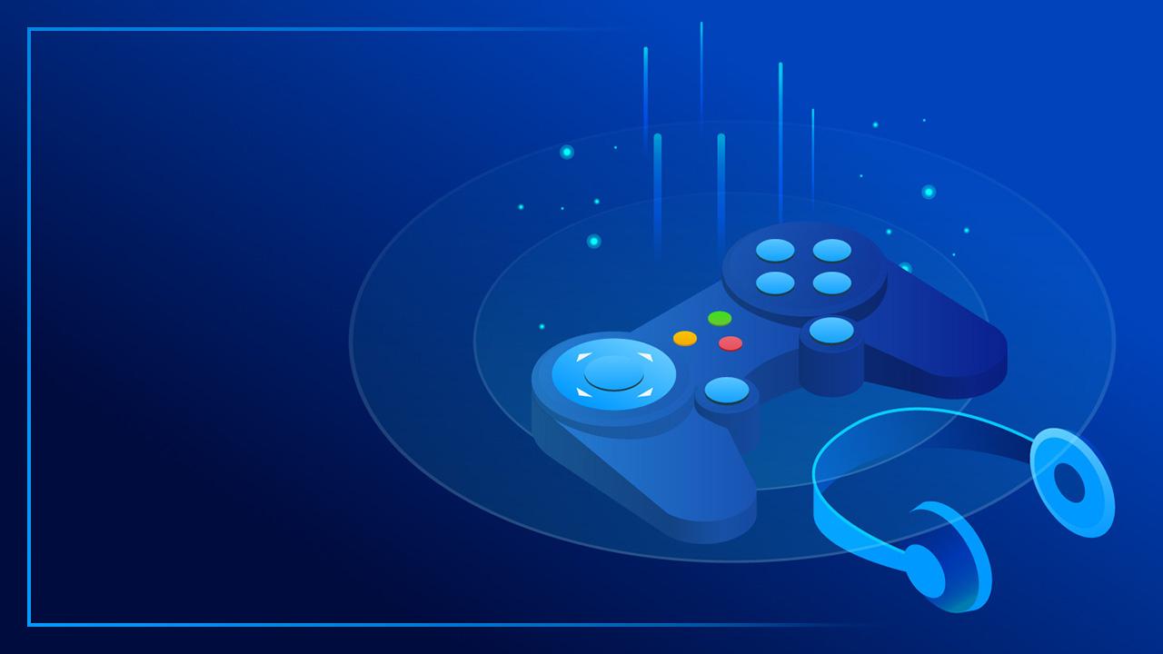 Картинка превью канала на ютуб голубого цвета с игровым контроллером и наушниками в круге света.