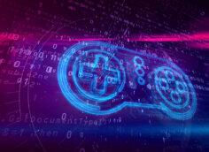 Картинка фиолетовая иконка ютуб со светящимся неоновым светом геймпадом на фоне пурпурного фона с цифрами и текстом.