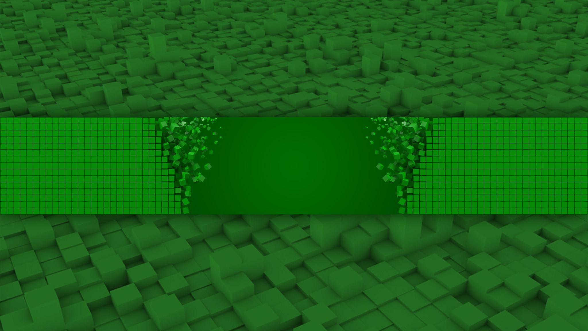 Картинка зелёный фон для шапки на youtube майнкрафт с симметричными кубиками.