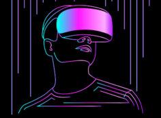 Картинка неоновая аватарка для игрового канала пурпурно - малинового цвета с рисунком человека в очках виртуальной реальности.