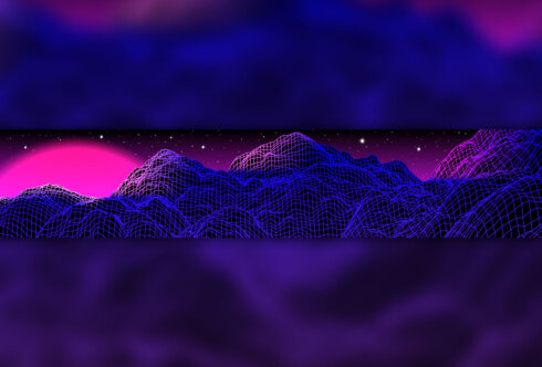Картинка фиолетовая шапка для ютуба игровой тематики из неоновой сетки на фоне атмосферного пейзажа.