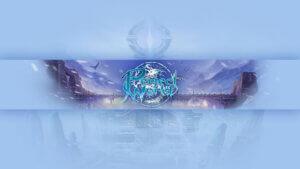 Картинка голубой с пурпурным фон для ютуб канала по компьютерной игре Perfect World с пейзажем замка на фоне год в кристальной дымке.