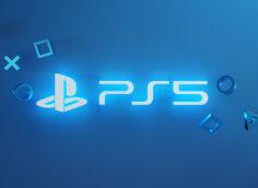 Картинка с неоновым текстом ps5 - готовое превью для ютуба голубого цвета.