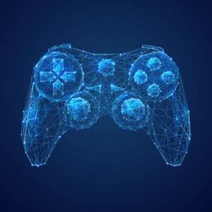 Картинка игровая аватарка для ютуба с джойстиком от игровой консоли на синем фоне.