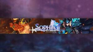 Картинка с текстом - аниме шапка для ютуба 2048x1152 по MMORPG Sophia: Awakening на космическом фоне с фантастическими персонами игры.