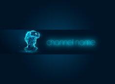 Картинка psd шапка для youtube канала голубого цвета с головой человека в очках виртуальной реальности и неоновой надписью.