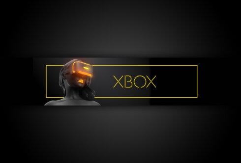 Картинка с текстом xbox one x - обложка на ютуб 2560 х 1440 с силуэтом девушки в очках виртуальной реальности на тёмном фоне.
