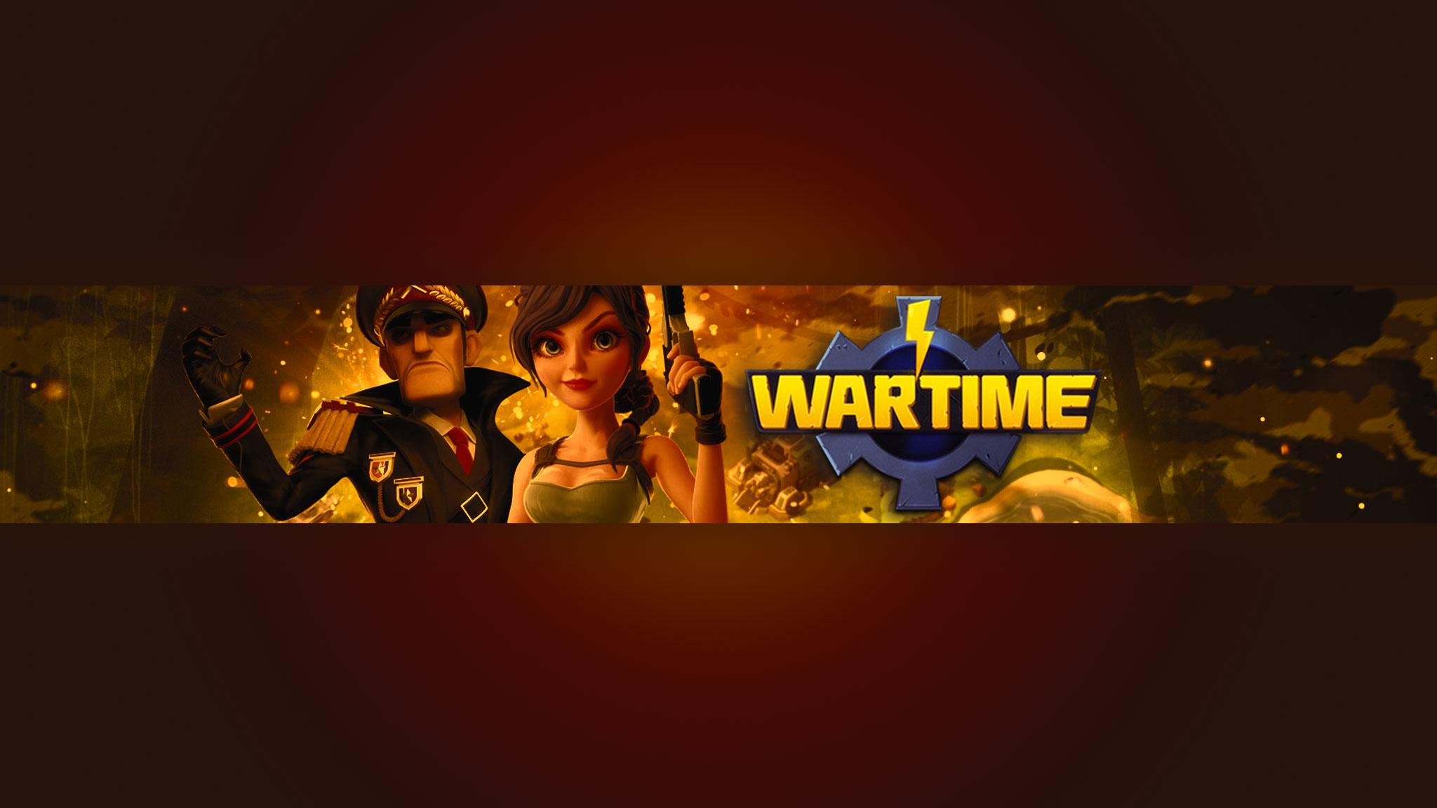 Картинка с текстом - шапка для игрового канала YouTube Wartime с персонажами игры на тёмно - бордовом фоне с жёлтым свечением.