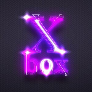 Картинка пурпурная аватарка неоновая для ютуба в виде светящейся вывески с текстом xbox.