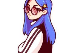 Картинка аватарка аниме девушки с синими волосами, в очках и тёмно - коричневой одежде, стоящей плечом вперёд.