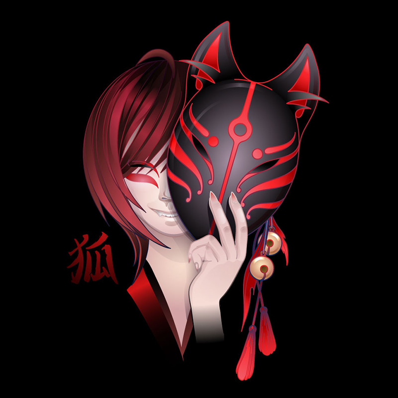 Аниме рисунок азиатки с красными волосами с демонической маской в руке.
