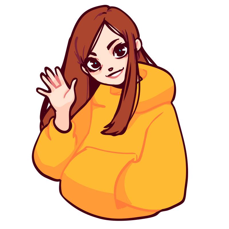 """Картинка рыжая девушка на аву с длинными волосами и жёлтой куртке делает рукой жест """"До свидания""""."""