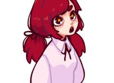 Картинка на аву аниме Тян с длинными бордовыми волосами и в розовой блузке.