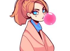 Картинка для аватарки аниме: девушка с длинными рыжими волосами надувает розовый шар из жевательной резинки.
