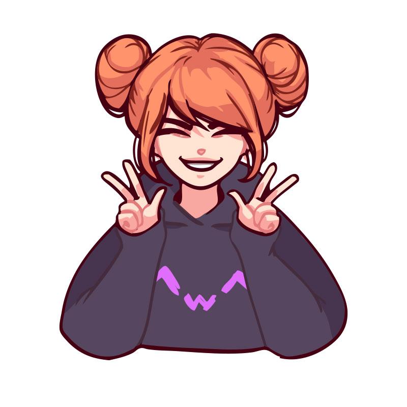 Картинка аниме девушка на аву в тёмной толстовке и с рыжими волосами.
