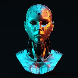 Картинка на аву с человеческой головой из блестящего металла на чёрном фоне.