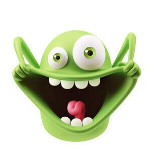 Картинка смешная аватарка: зелёный игрушечный монстр с разинутым ртом, торчащим языком между зубами и выпученными глазами.