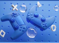 Картинка превью на видео синего цвета с геймпадами от игровой консоли на фоне капель воды.