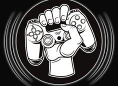 Картинка ава на ютуб канал с геймпадом в руке в центре круга на чёрном фоне.