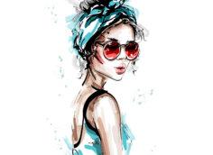 Картинка аватарка девушка в очках и модном головном уборе.