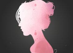 Картинка розовый силуэт девушки на аву в профиль на чёрном фоне.