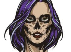 Картинка страшная аватарка головы девушки с фиолетовыми волосами.
