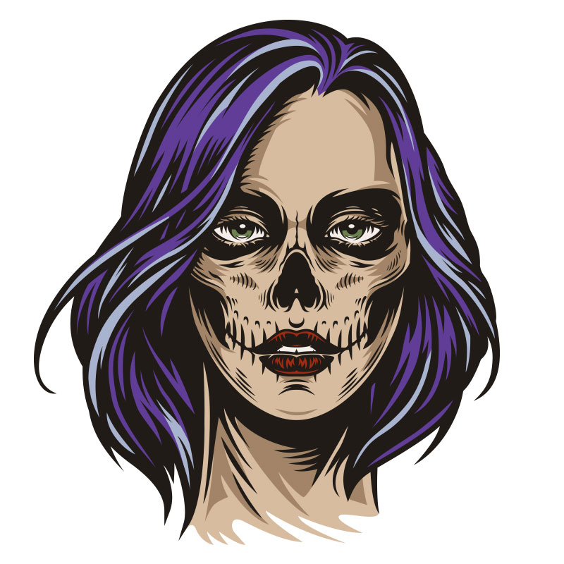 Голова страшной девушки с фиолетовыми волосами.