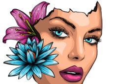 Картинка лицо красивой девушки на аву с красной губной помадой и подводкой для глаз с бутонами цветов.