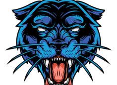 Голубая голова рычащей пантеры с разинутой пастью и клыками на белом фоне.