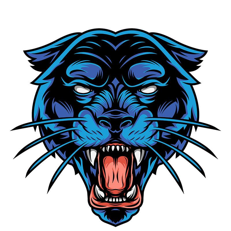 Картинка на классные аватарки для парней: голубая голова рычащей пантеры с разинутой пастью и клыками.