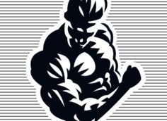 Картинка на аватарки для парней с черно - белым рисунком бодибилдера по пояс.