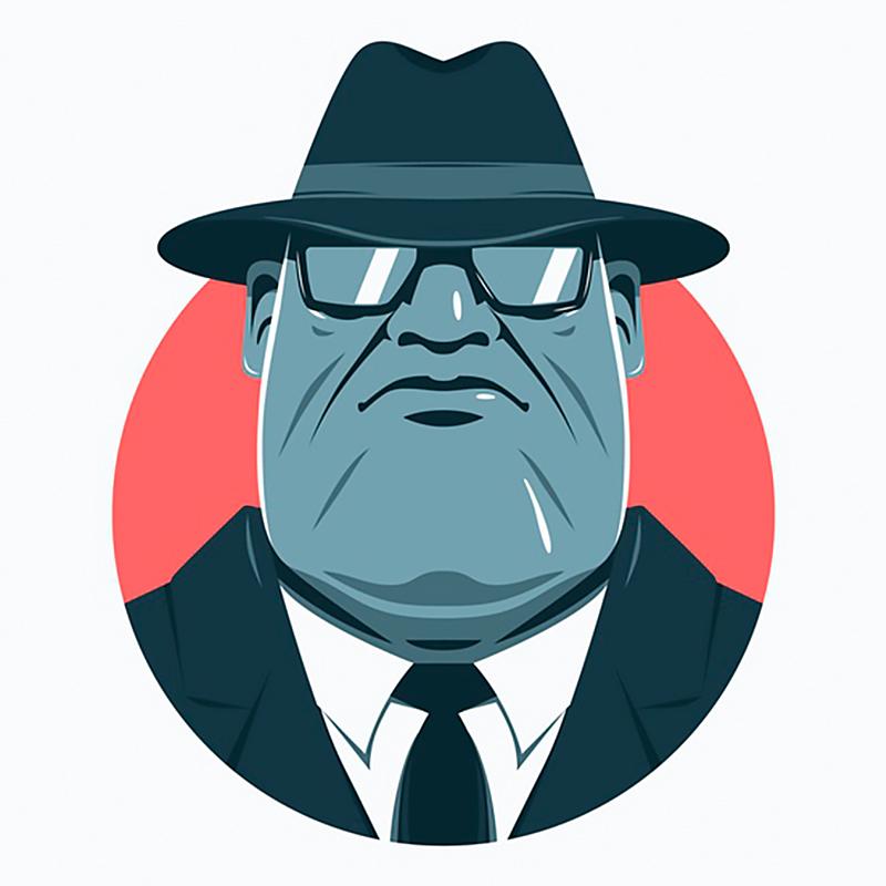Картинка на аватарки: лицо мужчины в очках, фетровой шляпе и деловом костюме с галстуком.