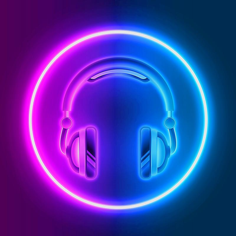 Картинка красочная аватарка для ютуба: наушники фиолетового цвета в неоновом круге.