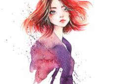Картинка аватарка девушки с красными распущенными волосами.