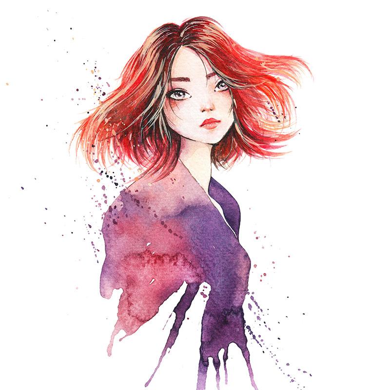 Девушка с красными распущенными волосами.