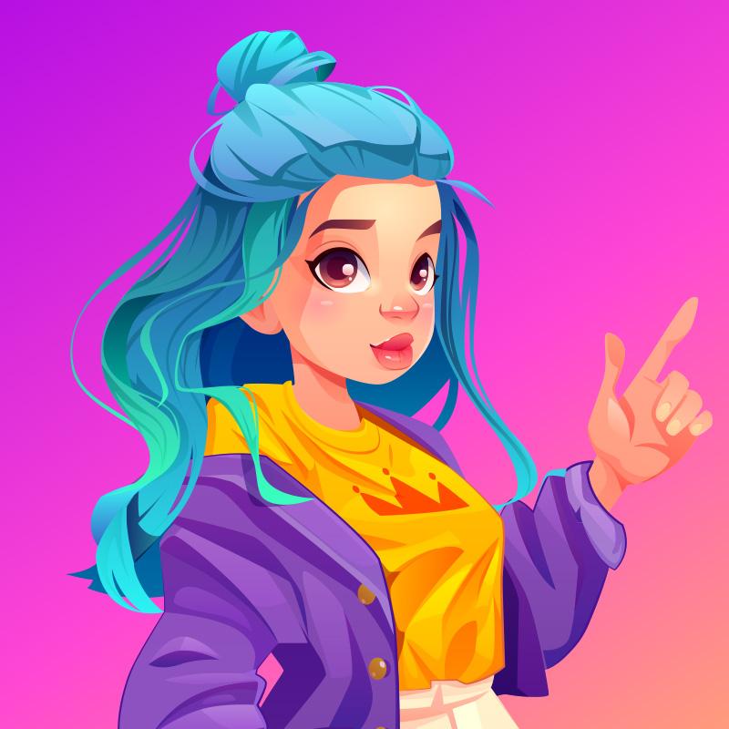 Картинка аниме на аватарку с рисунком девочки с длинными синими волосами, в фиолетовой куртке, показывающей жест указательным пальцем на розовом квадратном фоне.