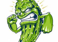 Смешной зелёный огурец с оскаленными зубами.