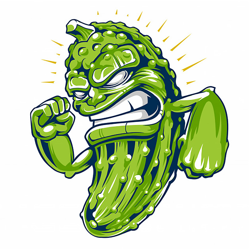 Картинка на смешную аватарку с рисунком зелёного огурца с оскаленными зубами.