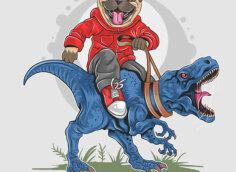 Картинка на крутые аватарки: рисунок бульдога в красном комбинезоне верхом на синем тиранозавре с разинутой клыкастой пастью.