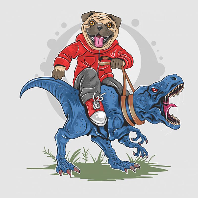 Крутой бульдог в красном комбинезоне верхом на синем тиранозавре.