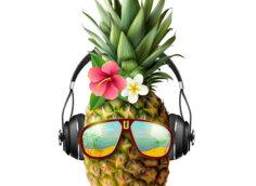 Смешная картинка ананас с цветами в солнечных очках и наушниках.