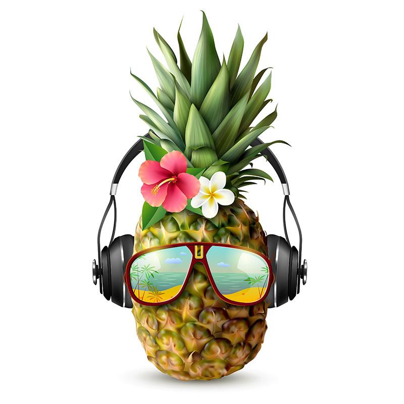 Смешной ананас с цветами в солнечных очках и наушниках.