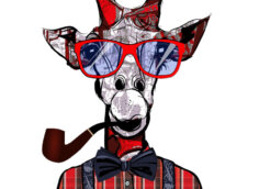 Картинка прикольная аватарка для парня с рисунком жирафа в красной клетчатой рубашке, в галстуке - бабочке, красных очках и с курительной трубкой.